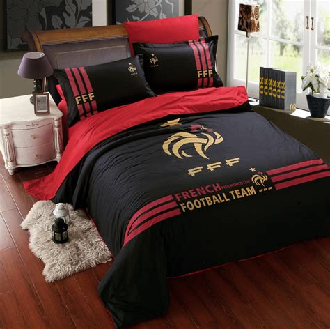 Mens Bedding Sets Black Cotton Football Team Bedding Sets For Boys Mens Duvet Cover Set Bed Linen Bed Sheet