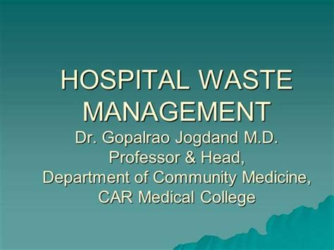 ppt templates for hospital management system hospital waste management authorstream