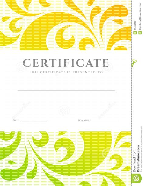certificate scroll template certificate diploma template scroll pattern stock