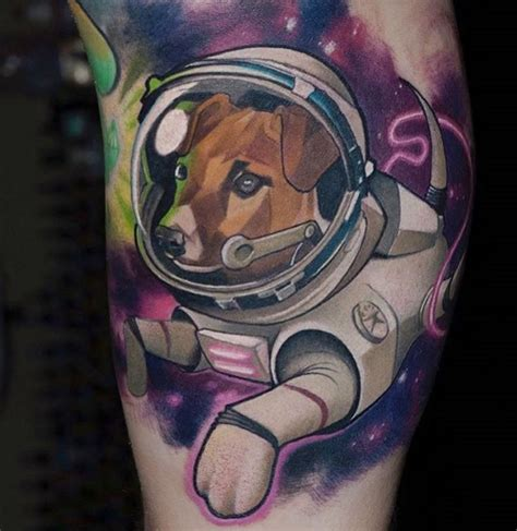 cartoon realism tattoo old cartoon like colored space dog tattoo tattooimages biz