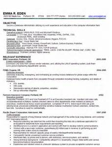 Database Administrator Resume by Skill Based Resume Sle Database Administrator