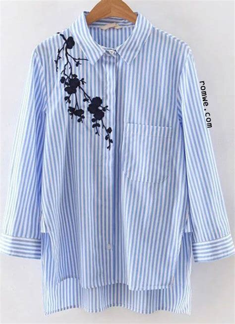 Embroidery Striped Blouse blue stripe embroidery high low blouse romwe style