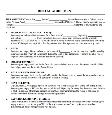 rent contract template sle blank rental agreement 8 free documents in pdf