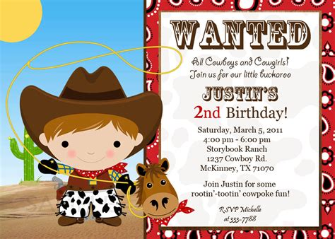 cowboy birthday card templates birthday invites cowboy birthday invitations template