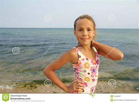 preteen beach preteens beach preteen girl on sea beach royalty free