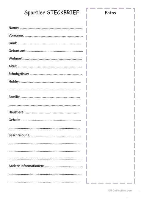 Muster Mahnung In Französisch Steckbrief Arbeitsblatt Kostenlose Daf Arbeitsbl 228 Tter