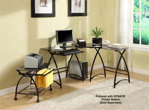 walker edison l shaped glass computer desk d51al30b