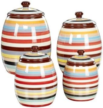 Kitchen Ceramic Canister Sets Tabletop Lifestyles Canisters Sedona Stripe Set Of 4