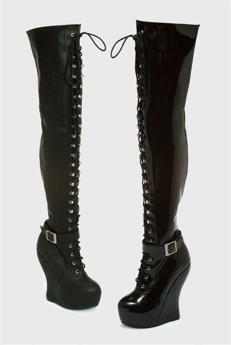 bettie page thigh high lace up boots