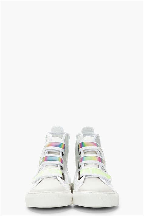raf simons white green holographic velcro high top sneakers in white for lyst