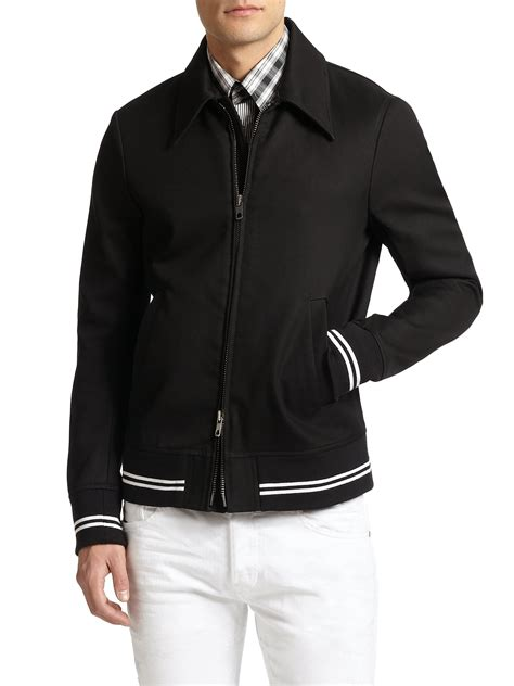 Jaket Zip Farsity Black lyst diesel black gold varsity stripe zip up jacket in black for