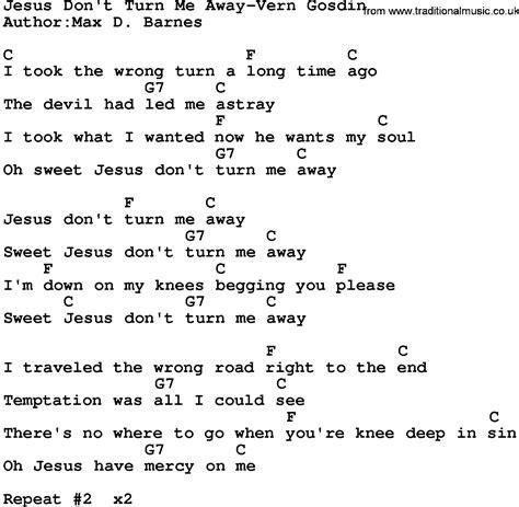 country music jesus chords country music jesus don t turn me away vern gosdin lyrics