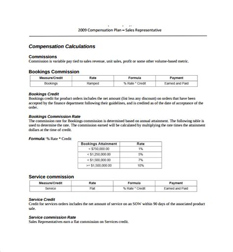 9 Commission Plan Templates Sle Templates Commission Structure Template