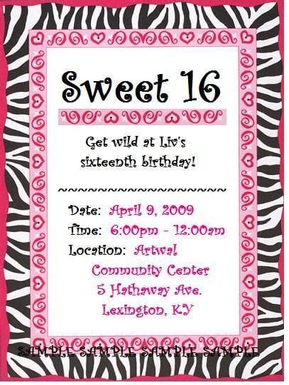 printable invitations for 16th birthday free printable sweet 16 invitation