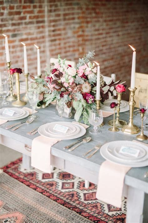 Picture Of boho meets vintage chic wedding shoot at