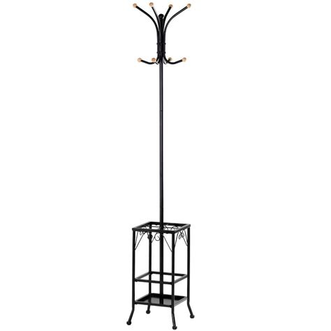 Standing Hat Rack by Standing Coat Hat Rack W Umbrella Holder 8 Hook Steady Durable Black Metal New