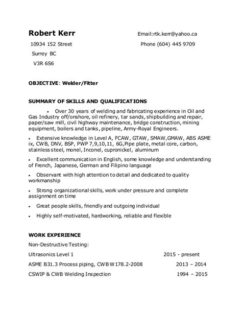 Resume Objective Welder Robert Kerr Welder Resume