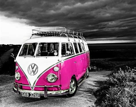 pink volkswagen van vw cer van pink the uk art depot shop