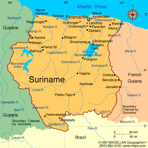 where is suriname on a map atlas suriname