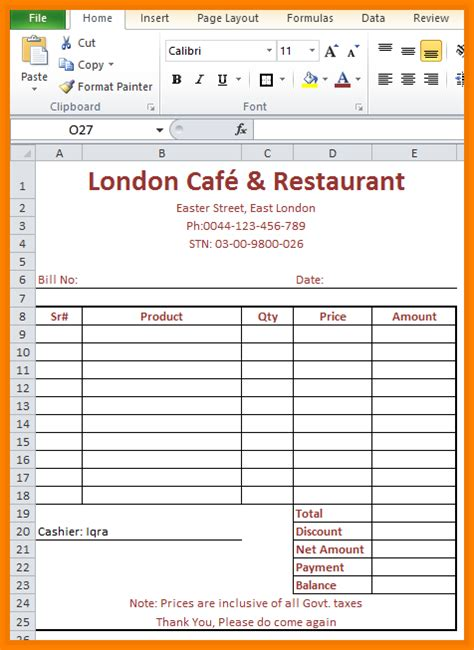 bill food 5 food bill format excel simple bill