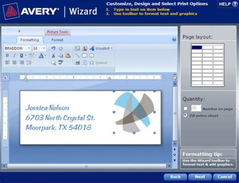 how to format an avery template in avery wizard software