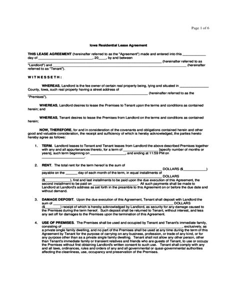 Iowa Residential Lease Agreement Form Free Download Rental Agreement Iowa Template