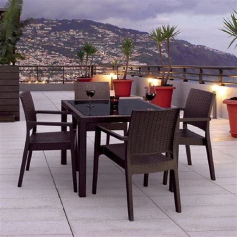 glass patio set shop compamia miami wickerlook 5 coffee brown glass