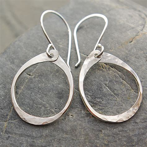 Handmade Silver Hoop Earrings - handcrafted sterling silver oval hoops stud earrings