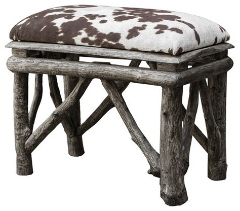 cow print bench contemporary rustic branch cow print bench rustic