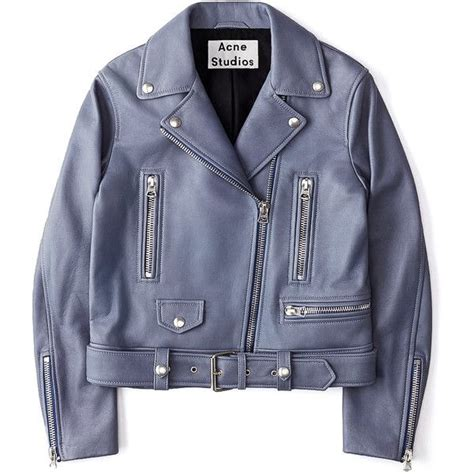 blue motorcycle jacket acne studios mock leather moto jacket 14 560 sek liked