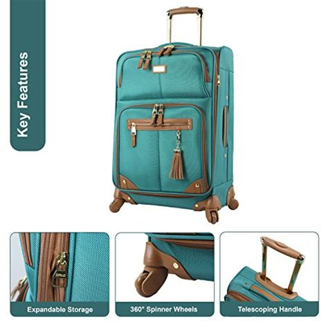 steve madden luggage 3 softside spinner suitcase set collection one size harlo teal blue