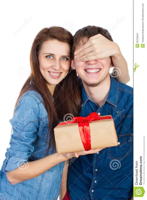 gf crismax imeg happy giving a gift to his happy beautiful isolated on a white