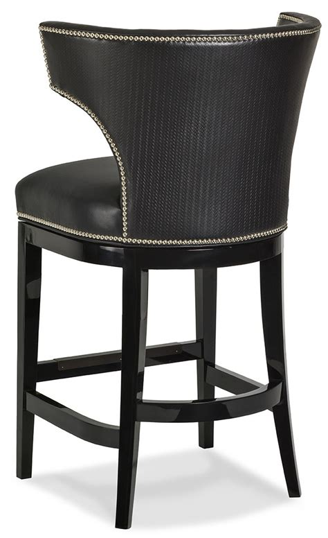 leather back bar stools black leather curved back bar stool