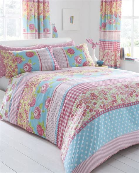 country floral shabby chic pink blue floral bedding or