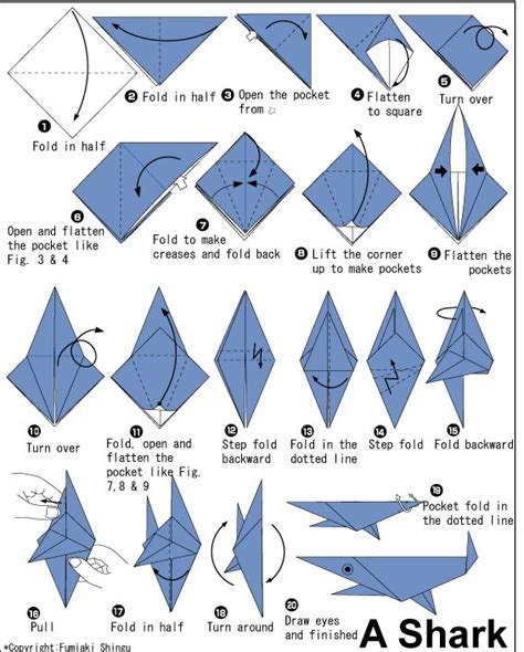 Origami Shark Diagram - easy origami fish printable 1 ideas for
