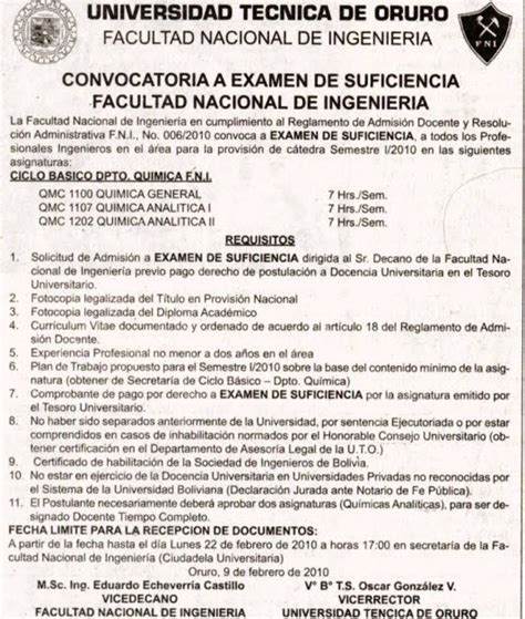 www convocatoria para aplicadores para examen nacional para nombramiento docente y contrato docente 2017 universidad tecnica de oruro facultad nacional de
