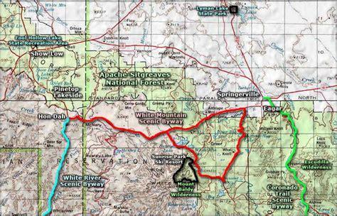 white mountains arizona map white mountain scenic byway
