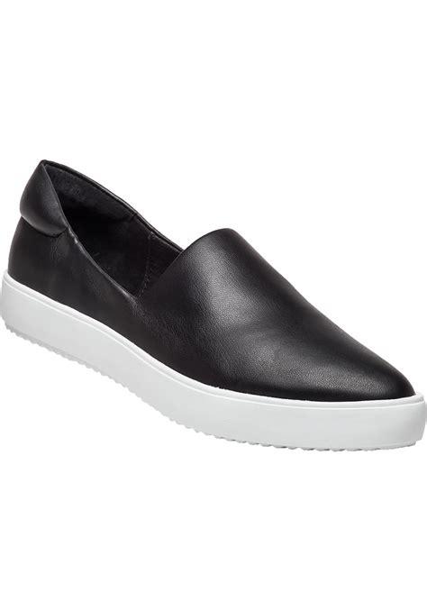black leather slip on sneakers lyst j slides dibbie faux leather slip on sneakers in black