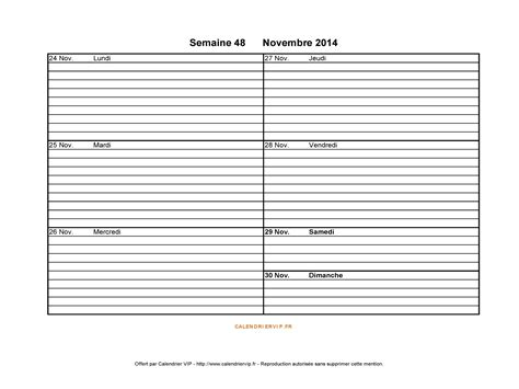 Calendrier Semaine 48 Semaine 48 2014