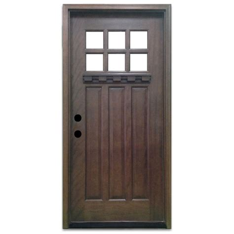 32 Exterior Doors Steves Sons 32 In X 80 In Craftsman 6 Lite Stained Mahogany Wood Prehung Front Door M3306 2