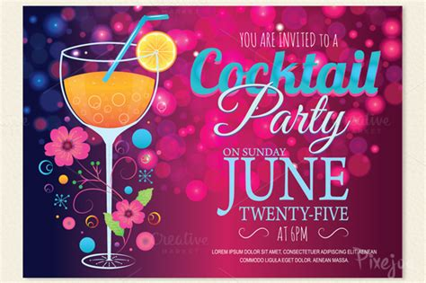 cocktail party invitation card card templates on