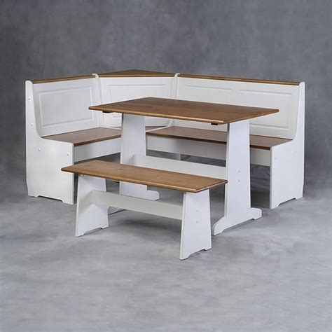 White Breakfast Nook | linon ardmore corner kitchen nook white pine dining set ebay