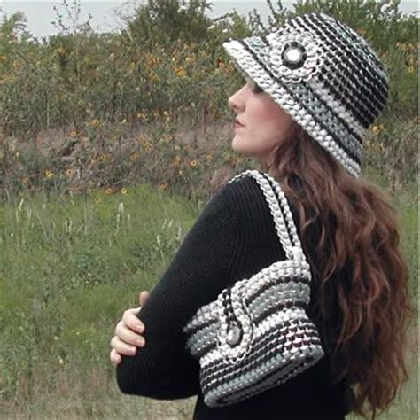 How To Make A Soda Hat Out Of Paper - this hat and bag made out of soda tabs upcycle