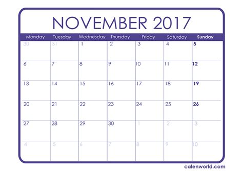 Printable Calendar Pages 2017 | november 2017 calendar printable one page 2017 printable