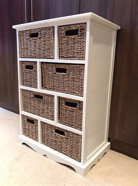 brown wicker rattan chest of drawers furniture white