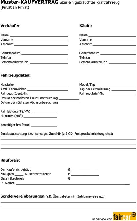 Kaufvertrag Auto Privat Muster by Muster Kaufvertrag 252 Ber Ein Gebrauchtes Kraftfahrzeug