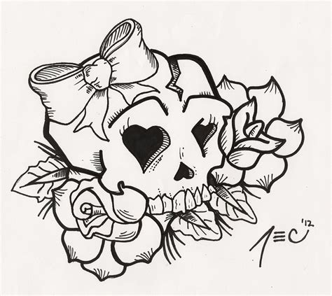 girly skull tattoo by theadrock on deviantart