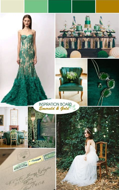 Emerald Green & Gold Wedding Moodboard   Colour Palettes