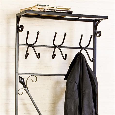 metal coat rack with bench amazon com sei black metal entryway storage bench with