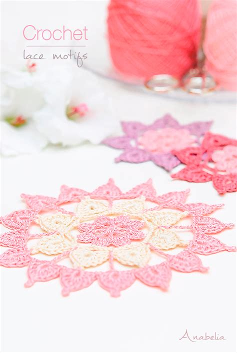 Crochet Lace Motifs In Pink And White Free Patterns anabelia craft design crochet doilies and lace motifs